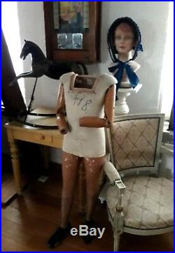 Antique French mannequin, dressform, original and marked P. Imans, Paris