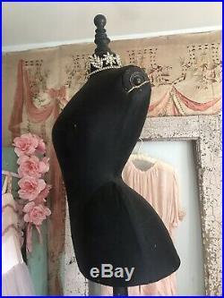 Antique French stockman Black Wasp Waist Corset Mannequin Dress Form Nordic Chic