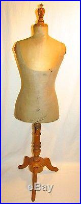 Antique Girard Paris Buste Rare Child Wasp Waist Dress Form Mannequin Silk Dress