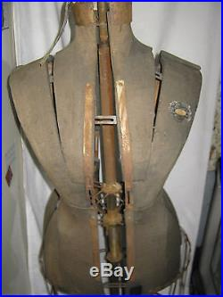 Antique Primitive Cast Iron Lady Dress Form Statue Sculpture Sewing Mannequin Us