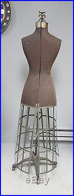 Antique Victorian Cast Iron Dress Form Adjustable with Cage 1908
