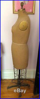 Antique Wolf Body Dress Form Fabric & Metal on Wheels Model 1955