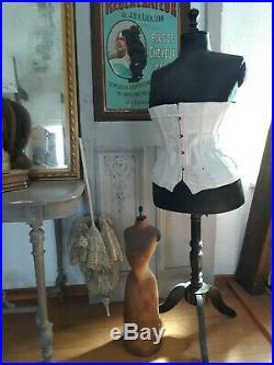 Antique miniature mannequin waspwaist dressform, Countertop, salesman sample, 1850