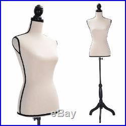 Beige Female Mannequin Torso Clothing Display With Black Tripod Stand New