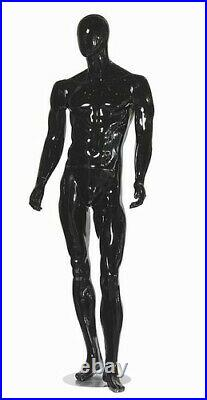 Black Gloss Male Mannequin with Straight Arms