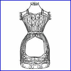 Black Metal Adjustable Wire Frame Dress Form / Dressmaker's Mannequin Stand