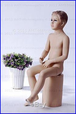 Child mannequin, manequin, display fullbody sitting boy manikin- Don+1Pedestal