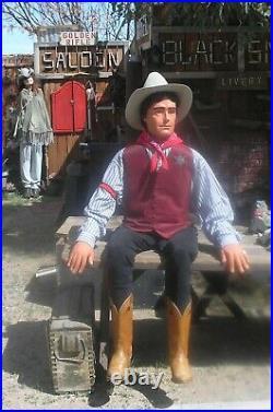Cowboy Mannequin, Handmade Folk Art, Articulated Life Size Prop Dummy