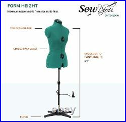 Dritz Sew You Adjustable Dress Form, Small, Opal Green Small