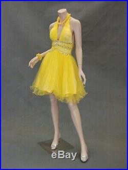 Female Adult Fleshtone Headless Fiberglass Full Body Mannequin with Metal Base