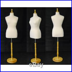 Female Dress Form Pinnable Foam Mannequin Torso Size 14-16 with Round Wood Base