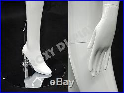 Female Fiberglass Glossy White Mannequin Abstract Style Roxy Display#MD-XD02W