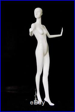 Female Fiberglass Glossy White Mannequin Eye Catching Abstract Style #MD-XD18W