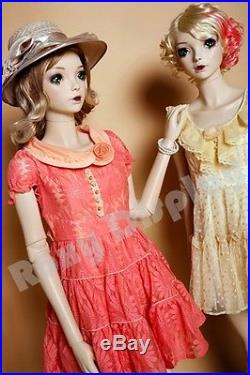 Female Fiberglass Mannequin with Two interchangeable Heads Display #MZ-ABF3