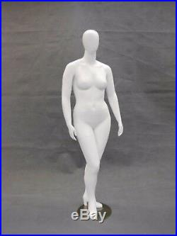 Female Full Body Plus Size Mannequin Egg Head Fiberglass Matte White Finish