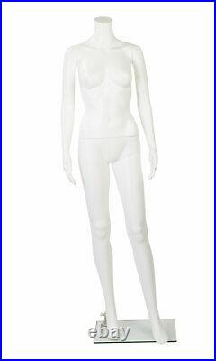 Female Headless White Plastic Mannequin With Straight Arms With Base 5'4H