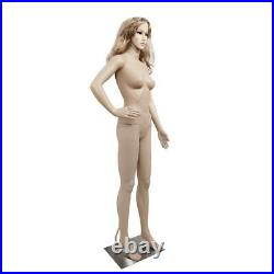 Female Mannequin Full Body PP Realistic Display Head Turns Dress Form with Base