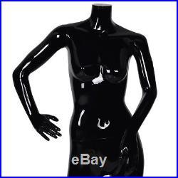 Female Mannequin Full Body Plastic Dress Form Display High Gloss Headless Black