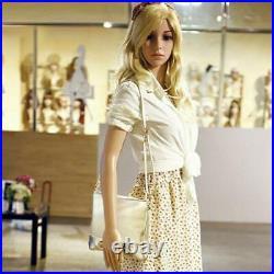 Female Mannequin Plastic Display Full Body Head Turns Dress with Iron Base Akimbo