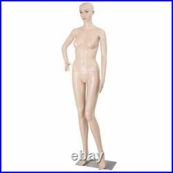 Female Mannequin Plastic Realistic Display Head Turns Dress Form with Base Flesh