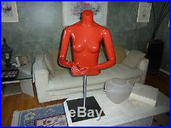 Female Mannequin Red Torso Moveable Arms & Hands Heavy Stand & Adjustable Height