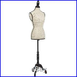 Female Mannequin Torso Dress Form Display With Black Tripod Stand Designer Pattern
