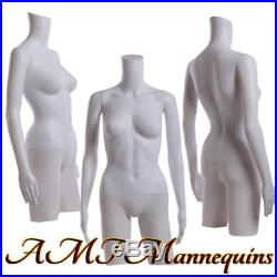 Female Mannequin dress form with rotated arms, hips White plastic Torso FT-2W