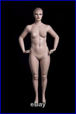 Female Realistic Full Body Plus Sized Mannequin with Molded Hair and Base