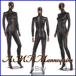 Female full body mannequin, Rose Golden head, High End painted black mannequin