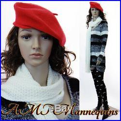 Female mannequin displays ladies sweaters, caps, on SalePlastic manikin-P2+2Wigs