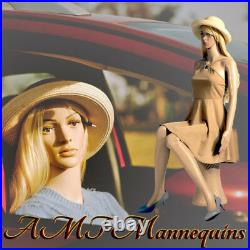 Female mannequin +pedestal, car show display body girl manikin Sitting F6+2Wigs