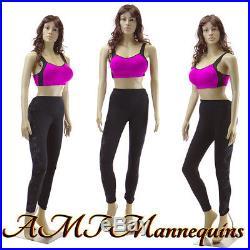 Female mannequin, sexy manquin, head rotate, dressform manikin-F22+2Wigs-Pickup