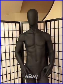 Fiberglass Black Male Mannequin Egghead Full Body Retail Fashion Clothes Display