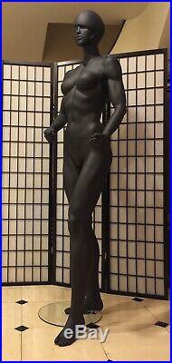 Fiberglass Matte Black Female Mannequin Full Body Retail Fashion Clothe Display