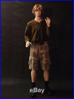 Full Body Male Mannequin Fiberglass Flesh Tone Movable Elbows with Base
