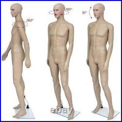 Full Body Male Mannequin Plastic Realistic Head Turns Dress Form 183cm /w Base
