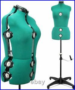 GEX 13 Dials Adjustable Dress Form Sewing Female Mannequin Torso Green Medium