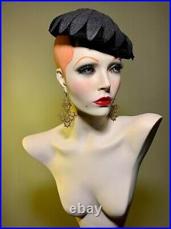 GRENEKER Mannequin Bust Jewelry Earring Hat Pedestal Display Female Vintage 80s