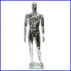 Glossy Silver Male Full Body Mannequin Egghead Face New Style Free Shipping