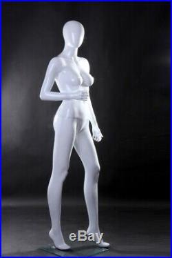 Glossy White Egg Head Fiberglass Female Mannequin with Base
