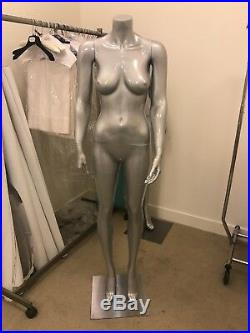 Headless Female Mannequin Plastic Dress Form Display Full Body Metallic Grey