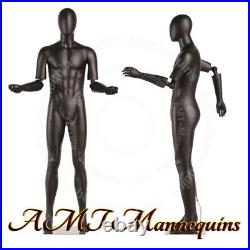 MALE FULL BODY MANNEQUINS FLEXIBLE ARTICULATED ARMS, BLACK HIGH END mannequin