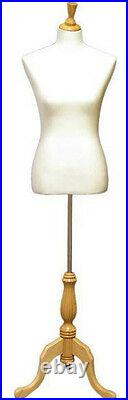 MN-103 WHITE Female Pinnable French Dress Form Mannequin with Tripod Wood Base