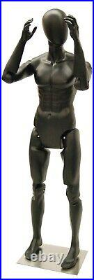 Male Adult Fully Articulating Flexible Pose-able Matte Black Mannequin with Base