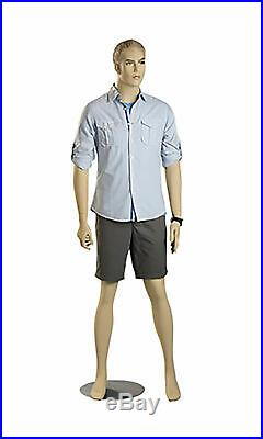 Male Caucasian Complexion Fiberglass Mannequin Height 6' 3½ With Base