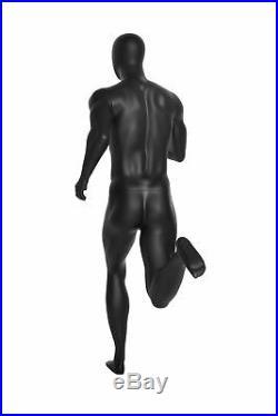 Male Full Body Running Sports Mannequin Matte Black Egg Head with Base