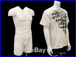 Male Invisible Ghost Mannequin 3/4 Body Matte White
