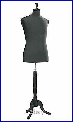 Male Jersey Suit Dressmaker Form Seamstress Black Mannequin Size 38 Wood Base