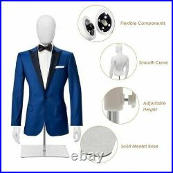 Male Mannequin Realistic Head Half Body Head Turn Model Clothing Easy Assembly