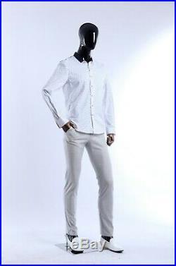 Male mannequin, Flexible arms, full body black glossy egg head manikin-XM-11H-M